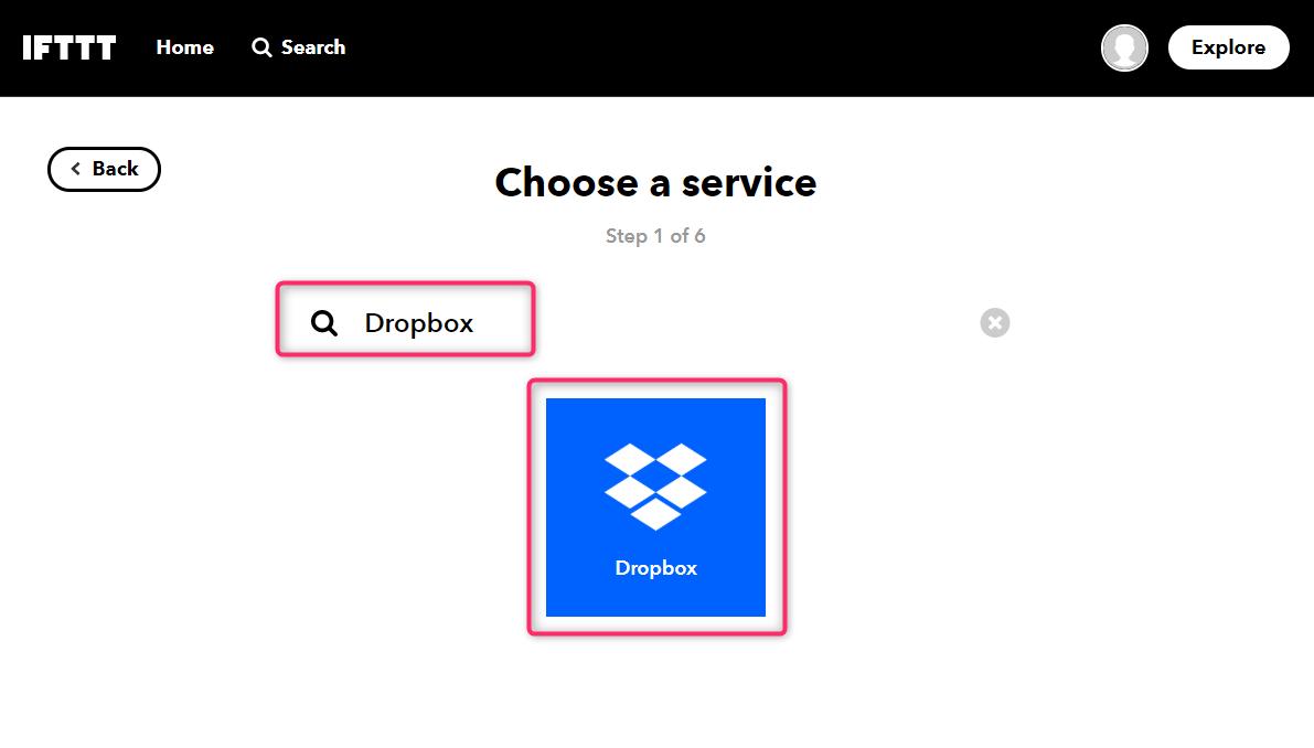 """サービスに""""Dropbox""""と入力"""