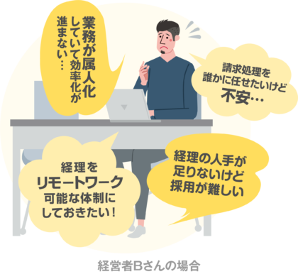 DX(デジタルトランスフォーメーション)したい経営者Bさんの場合 経理をリモートワーク可能な体制にしておきたい!