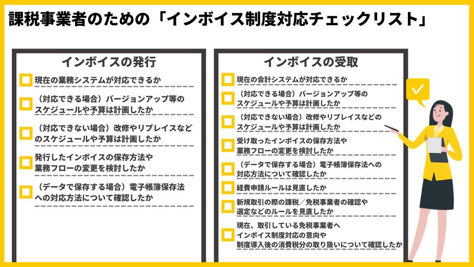 課税事業者のための「インボイス制度対応チェックリスト」